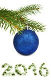 Isolated image of blue ball on the Christmas tree Stock Photos
