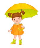 Isolated image of a cartoon girl standing under an umbrella. Stock Photography