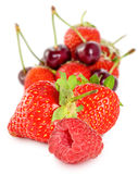 Isolated image of cherries and strawberries Stock Image