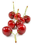 Isolated image of cherries on white background closeup Royalty Free Stock Photography