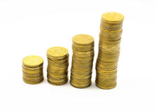 Isolated image. columns of coins Royalty Free Stock Photography