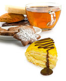 Isolated image of a cup of tea and cookies on a white background Royalty Free Stock Image