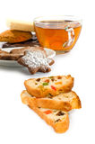 Isolated image of a cup of tea and cookies on a white background closeup Stock Photo