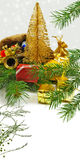 Isolated image of a different Christmas decorations on a white background closeup Stock Photo