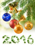 Isolated image many Christmas decorations on a green background close -up Stock Image