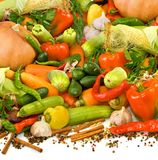 isolated image of many ripe vegetables, herbs and spices close-up stock photos