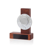 Isolated image of an od trophy made from wood royalty free stock images