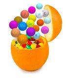 Isolated image of pills inside orange close up Royalty Free Stock Photos