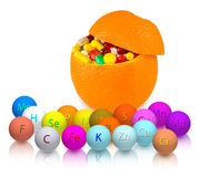 Isolated image of pills inside orange closeup Stock Photo