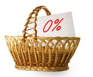 Image of product basket and percentage of discounts. Isolated image of product basket and percentage of discounts Royalty Free Stock Image