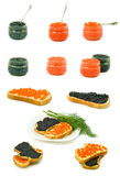 Isolated image of red and black caviar on a white background Royalty Free Stock Photography