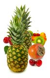 Isolated image of ripe pineapple and vegetables Stock Images