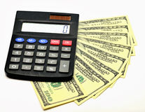Isolated image. small desktop calculator with the expansion like Royalty Free Stock Images