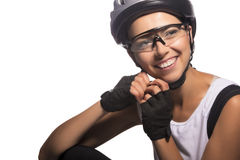Isolated image of a smiling caucasian female cycling athlete Royalty Free Stock Photos