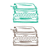 Isolated image of a vintage mechanical typewriter made in the th Stock Image