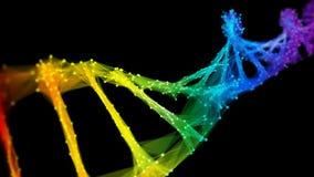 Isolated Iridescent rainbow Digital polygonal DNA molecule strand colorful Loop
