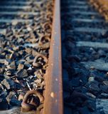 Isolated iron made railway tracks unique photo. Isolated iron made railway tracks with stones unique object photo stock photo