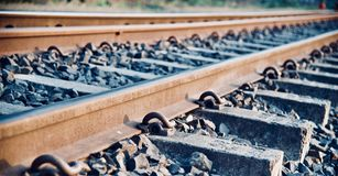 Isolated iron made railway tracks unique photo. Isolated iron made railway tracks with stones unique object photo royalty free stock images
