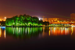 The isolated island green trees_night_landscape_xian Stock Photo