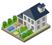 Isolated isomatic cottage. Country life. Garage. Green grass. Lawn. Swing. Vector illustration Stock Images