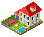 Isolated isomatic cottage. Country life. Garage. Green grass. Lawn. Swing. Vector illustration Stock Photo