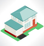 Isolated isometric village, vector illustration Royalty Free Stock Images
