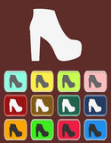 Isolated jackboot with color variations, vector. Flat Royalty Free Stock Image