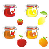 Isolated jam jars and fruits set Royalty Free Stock Photos
