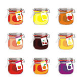 Isolated jam jars set. Vector illustration of different isolated jam jars Stock Image