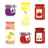Isolated jam jars set. Vector illustration of isolated jam jars royalty free illustration