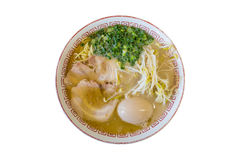 Isolated Japanese chashu ramen with boiled egg and vegetable Stock Photos