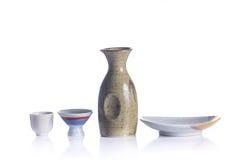 Isolated Japanese Sake drinking set Stock Photos