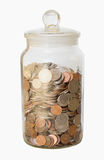 Isolated Jar of Coins Royalty Free Stock Image