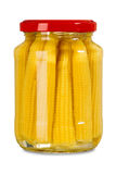 Isolated jar of mini corn Royalty Free Stock Images