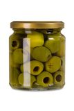 Isolated jar of olives Royalty Free Stock Image