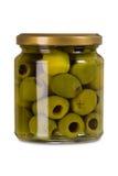 Isolated jar of olives Royalty Free Stock Image