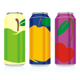Isolated juice cans. Vector illustration of different isolated juice cans Stock Images