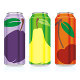 Isolated juice cans. Vector illustration of different isolated juice cans Stock Photo