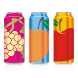 Isolated juice cans Stock Photos
