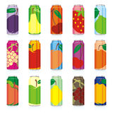 Isolated juice cans. Vector illustration of different isolated juice cans Stock Photography