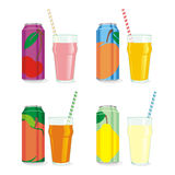 Isolated juice cans and glasses Royalty Free Stock Photos