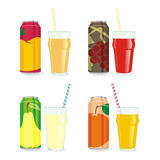 Isolated juice cans and glasses. Vector illustration of different isolated juice cans and glasses Royalty Free Stock Photography