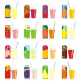 Isolated juice cans and glasses. Vector illustration of different isolated juice cans and glasses Stock Images