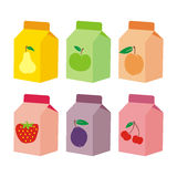Isolated juice carton boxes. Vector illustration of six isolated juice carton boxes Royalty Free Stock Image