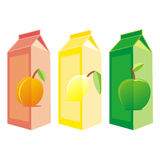 Isolated juice carton boxes. Vector illustration of different isolated juice carton boxes Royalty Free Stock Photos