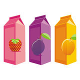 Isolated juice carton boxes. Vector illustration of different isolated juice carton boxes Stock Photo