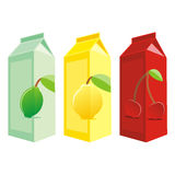 Isolated juice carton boxes. Vector illustration of different isolated juice carton boxes Royalty Free Stock Photography