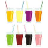 Isolated juice glasses. Vector illustration of different isolated juice glasses Royalty Free Stock Image