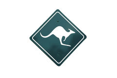 Isolated kangaroo sign. Isolated road sign of a kangaroo Royalty Free Stock Photo