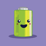 Isolated kawaii battery illustration. Royalty Free Stock Photos